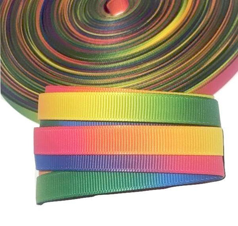 "Rainbow tie dye printed 3/8"" grosgrain ribbon - MAE Inspirations"
