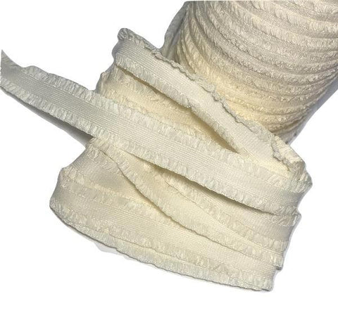 "Cream 1/2"" ruffle edge elastic - MAE Inspirations"