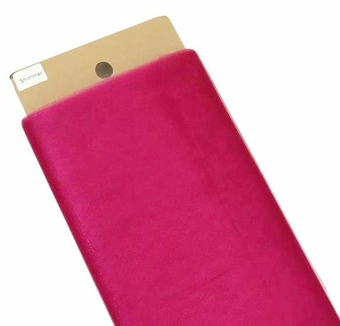 "Fuchsia pink 54"" SHIMMER tulle fabric / 1-5 yards"