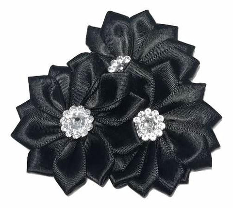 "Black 2.75"" satin petal cluster flower w/ rhinestone center (pointed) - MAE Inspirations"