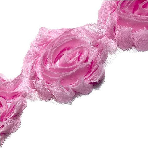 "Light pink petite 1.5"" shabby chiffon rose trim - MAE Inspirations"