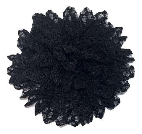 "Black 3.5"" textured poof flower - MAE Inspirations"