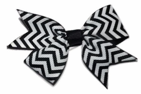 "Black chevron print 3.5"" double loop grosgrain bow - MAE Inspirations"