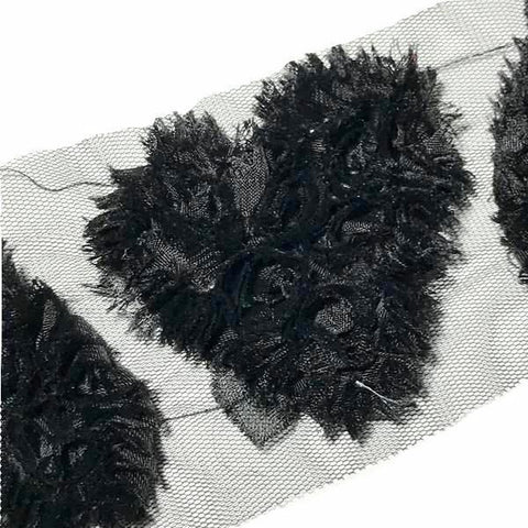 "Black 3"" frayed shabby chiffon heart rose trim - MAE Inspirations"