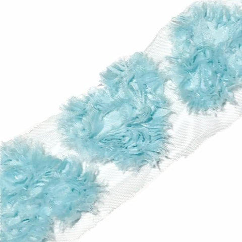 "Aqua blue 3"" frayed shabby chiffon heart rose trim - MAE Inspirations"