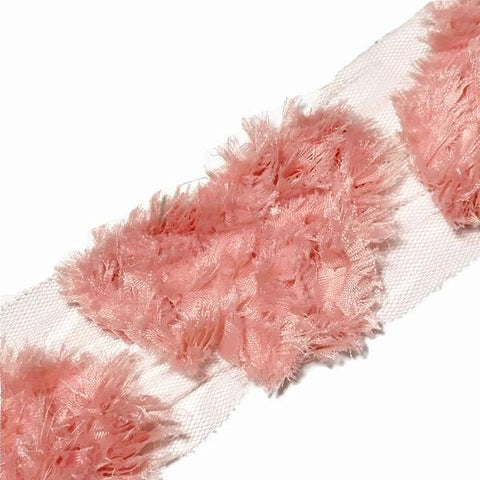 "Coral 3"" frayed shabby chiffon heart rose trim - MAE Inspirations"
