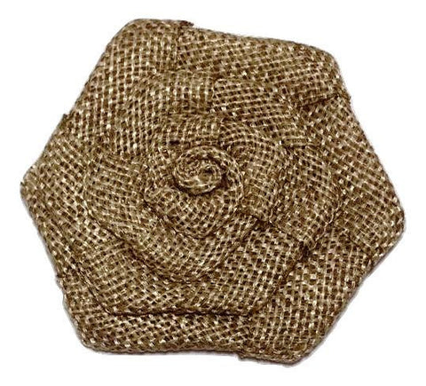 "Beige 3"" burlap rolled rosette flower - MAE Inspirations"