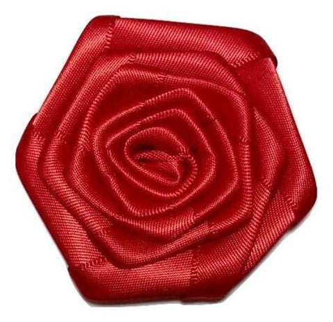 "Red 2"" satin ribbon rolled rosette flower - MAE Inspirations"