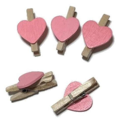 "Mini 1"" clothespins w/ light pink heart - MAE Inspirations"