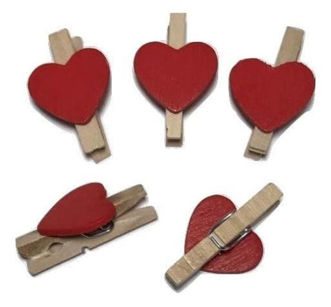 "Mini 1"" clothespins w/ red heart - MAE Inspirations"
