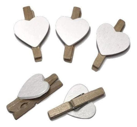 "Mini 1"" clothespins w/ white heart - MAE Inspirations"