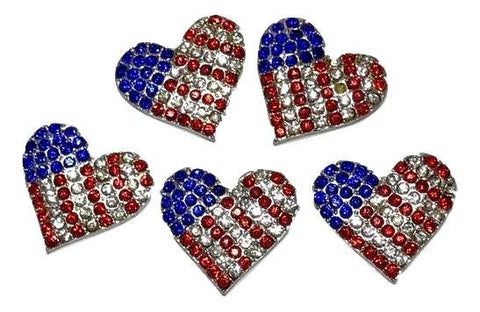 23mm red, white & blue 4th of July rhinestone flag metal flat back rhinestone - MAE Inspirations