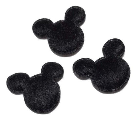 "Black felt mouse head 7/8"" padded appliqué - MAE Inspirations"