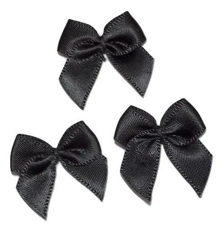 "Black 1"" satin bow tie applique - MAE Inspirations"