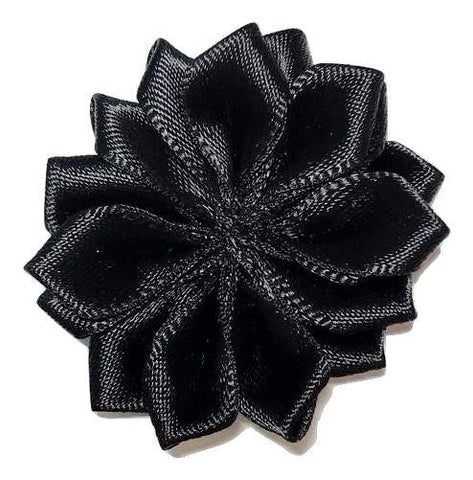 "Black 1.5"" satin petal flower - MAE Inspirations"