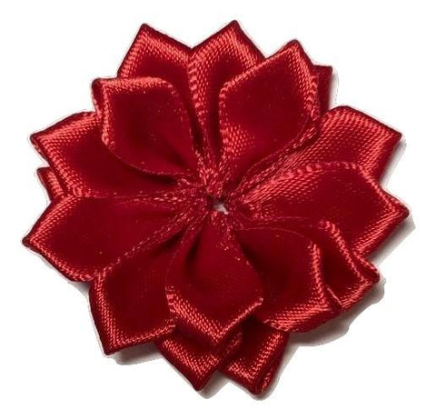 "Red 1.5"" satin petal flower - MAE Inspirations"