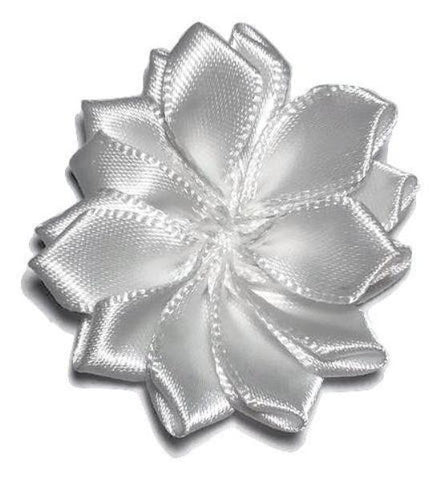 "White 1.5"" satin petal flower - MAE Inspirations"