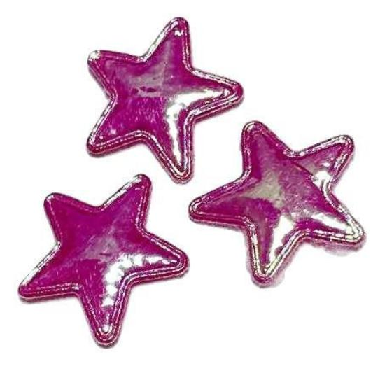 Hot pink iridescent star 15mm padded appliqué - MAE Inspirations