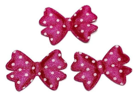 "Hot pink polka dot 1 3/8"" bow tie satin padded appliqué - MAE Inspirations"