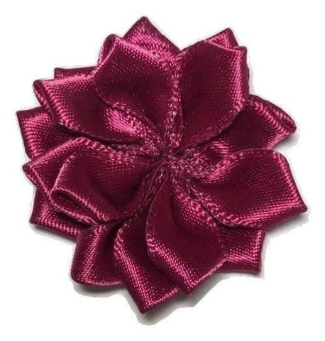 "Burgundy 1.5"" satin petal flower - MAE Inspirations"