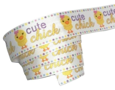 "Cute chick Easter print 1"" grosgrain ribbon - MAE Inspirations"