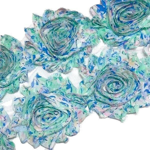 "Blue & pink floral print 2.5"" shabby chiffon rose trim - MAE Inspirations"