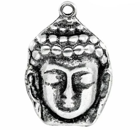 Buddha head antique silver 29X20mm charm - MAE Inspirations