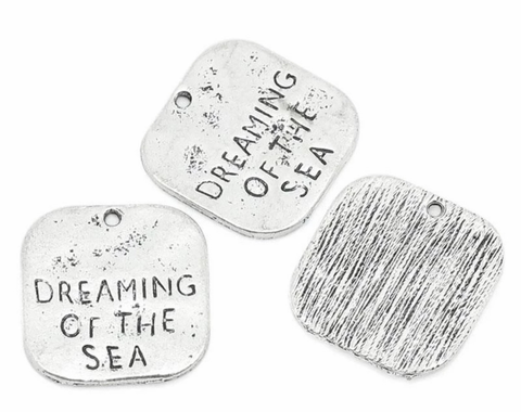 """Dreaming of the sea"" antique silver 19X20mm charm"