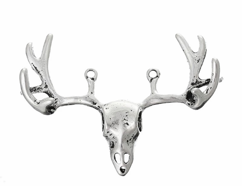 Bison skull antique silver 53X37mm connector charm - MAE Inspirations