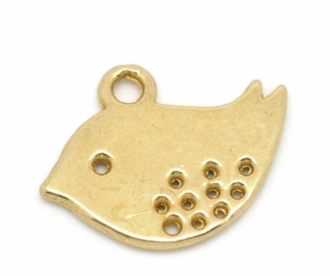 Bird gold plated 16X13mm charm
