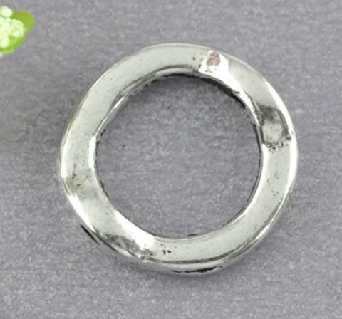 Round silver tone 13mm bead frame