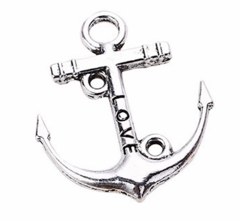 "Anchor ""LOVE"" antique silver 22.5X19mm charm / link"