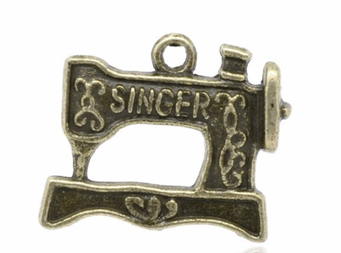Singer sewing machine antique bronze 20X15mm charm - MAE Inspirations