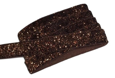 "Brown 5/8"" frosted glitter elastic"