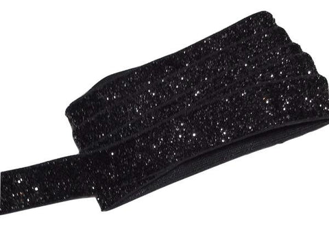 "Black 5/8"" frosted glitter elastic"