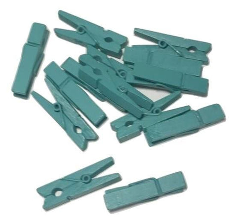 "Turquoise green mini 1 3/8"" clothespins - MAE Inspirations"