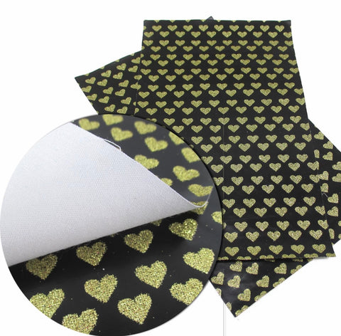 Black glitter gold heart faux leather fabric sheet
