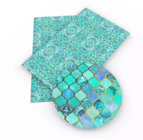 Teal metallic gold mosaic tiles faux leather fabric sheet