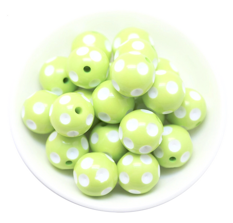 20mm lime green polka dot chunky bubblegum beads - MAE Inspirations