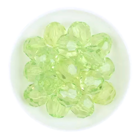 20mm lime green faceted transparent chunky bubblegum beads - MAE Inspirations