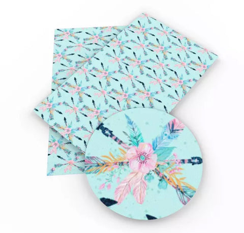 Light blue tribal floral arrows faux leather fabric sheet - MAE Inspirations