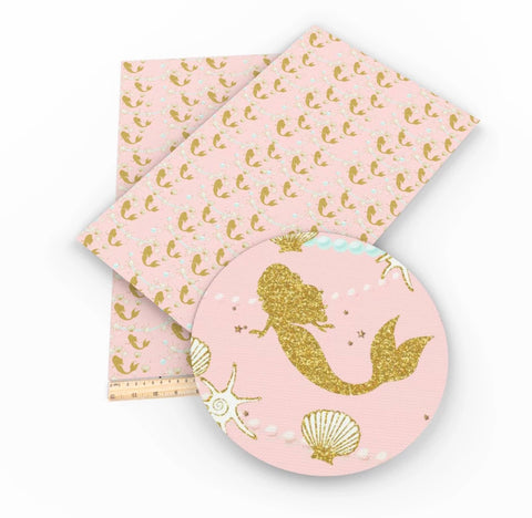 Light pink gold mermaid faux leather fabric sheet