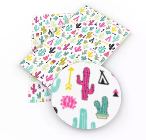 Tribal cactus tee pees & arrows faux leather fabric sheet