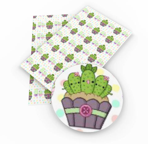 Girly cactus faux leather fabric sheet