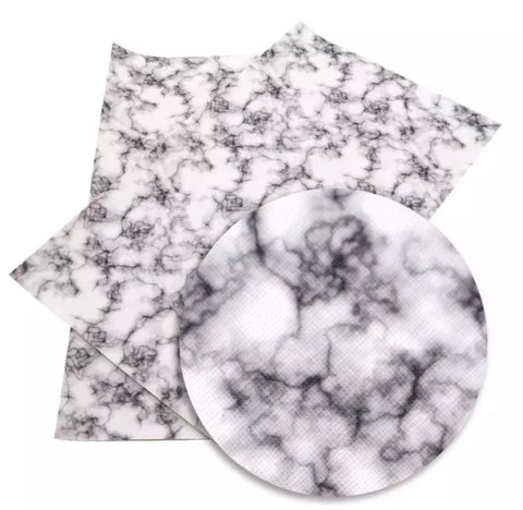 White marble faux leather fabric sheet - MAE Inspirations