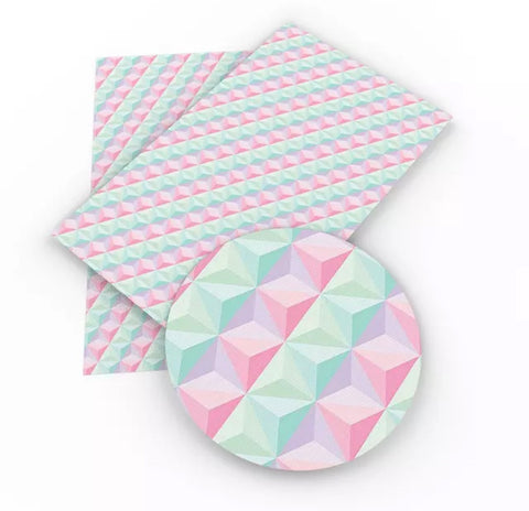 Pink & green geometric faux leather fabric sheet