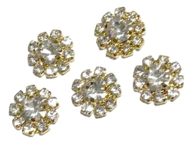 12mm clear metal gold rhinestone flat back button - MAE Inspirations