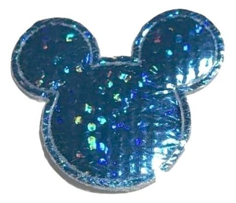 Blue holographic Minnie Mouse 30x25mm padded appliqué - MAE Inspirations