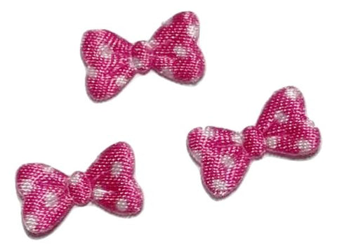 Hot pink polka dot bow 15x10mm padded appliqué
