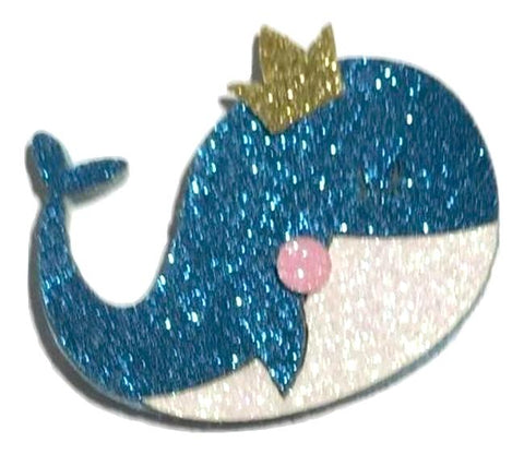 "Blue glitter 2"" whale princess padded appliqués - MAE Inspirations"